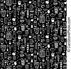 Dishware Doodles White on Black Sketchy Seamless Pattern Background