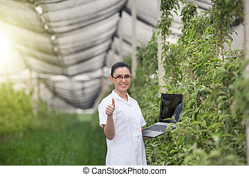 Woman in apple orchard - Young agronomist with laptop in...