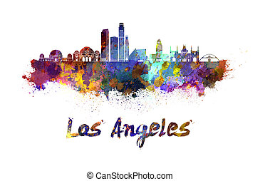 Los Angeles skyline in watercolor splatters with clipping...