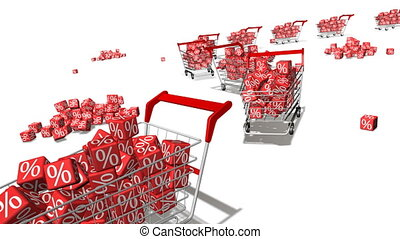 Discount - Shopping carts with red cubes. Concept of...