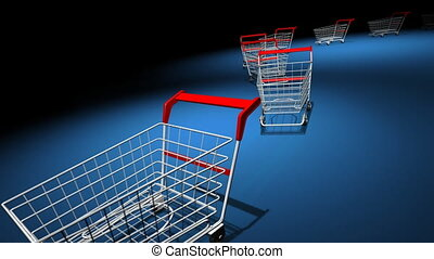 Shopping carts - Empty shopping carts on blue