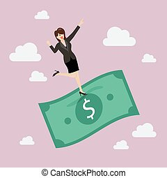 Businessman standing on a flying money Business concept