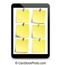 Black Tablet PC Yellow Stickers Mockup - Black tablet pc...