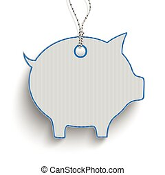 Piggy Bank Blue Price Sticker - Blue carton price sticker...