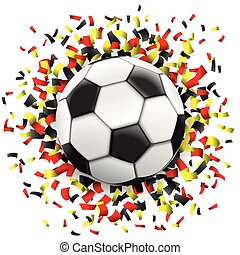 Football Black Red Yellow Confetti Germany - Football with...