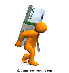 Manikin Euro Notes Burden - Orange cartoon character with...