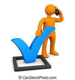 Manikin Blue Tick Smartphone - Orange manikin with checklist...