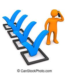 Manikin Checklist Smartphone - Orange manikin with checklist...