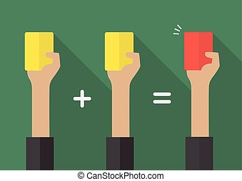 Two yellow card for a red card Vector illustration