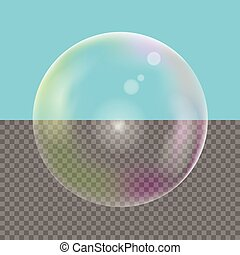 Realistic Soap bubble - Colored Realistic transparent Soap...