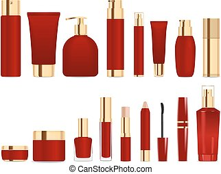 Dark red and gold tubes. - Set of cosmetic tubes isolated on...