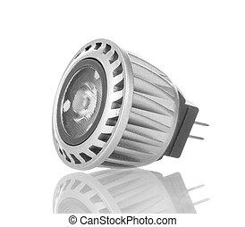 LED energy saving lamp closeup isolated on white. - LED...
