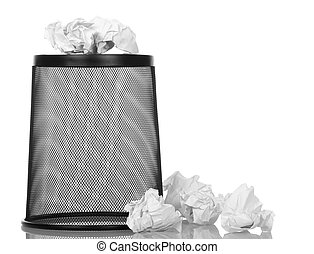 Basket wheelie for paper waste isolated on white - Basket...