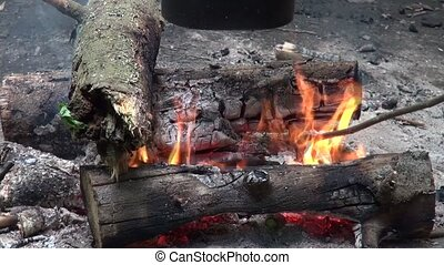 Wooden sticks in the fire The game with the fire Wooden...