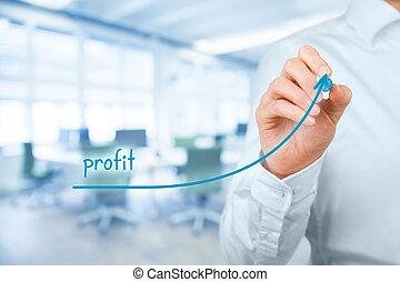 Profit - Increase profit concept. Businessman plan (predict)...
