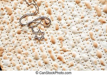 Star Of David On Matzah - Seder concept Star of David symbol...