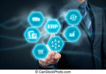 Enterprise resource planning ERP concept Businessman click...