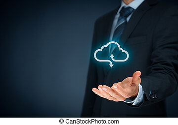 Cloud computing concept - connect your company to cloud Hand...