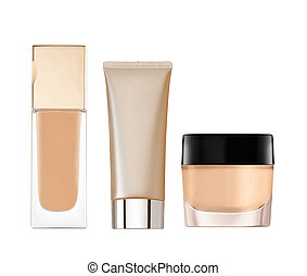 liquid makeup foundation in bottle isolated on white background