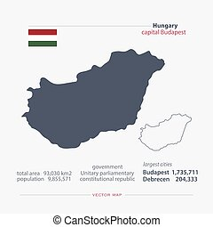 hungary - Republic of Hungary isolated maps and official...