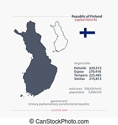 finland - Republic of Finland isolated maps and official...