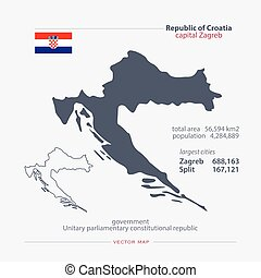 croatia - Republic of Croatia isolated maps and official...