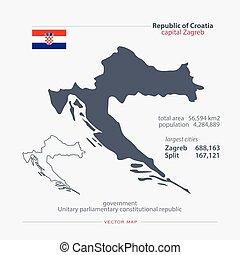 croatia - Republic of Croatia isolated maps and official...