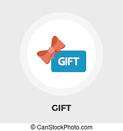 Gift card flat icon - Gift card icon vector. Flat icon...
