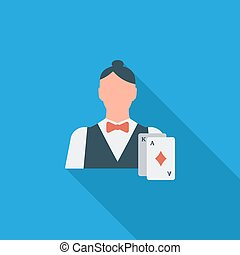 Live dealer flat icon - Live dealer icon Flat vector related...