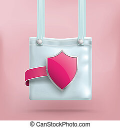 Purse Bag Pink Shield Safe Shopping - Shopping bag with pink...