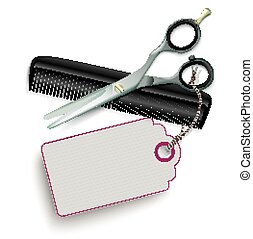 Scissors Comb Price Sticker SH - Scissors and comb with...
