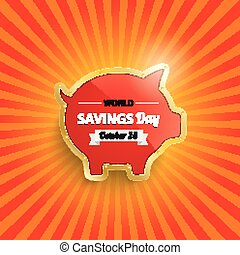 Golden Piggy Bank Retro Sun Savingsday - Golden piggy bank...