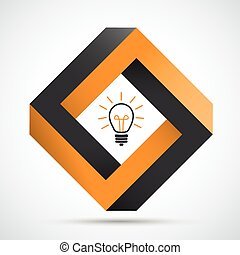 Orange Red Paradox Idea Bulb - Rectangle paradox shape with...