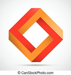Orange Red Paradox - Rectangle paradox  shape on the white.