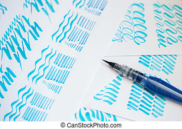Hand drawn lettering background waterbrush calligraphy on...