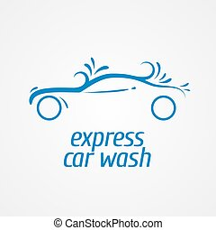 Car wash vector design element, logo. Car washing concept