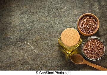 linaza, aceite, en, botella, y, lino, semillas, en, tabla,