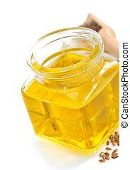 linaza, aceite, en, botella, aislado, en, blanco,