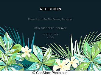 Wedding invitaion or card design with exotic tropical...