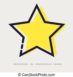 Abstract flat yellow star icon.