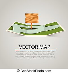 Paper map sign with wooden pointer