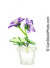 fake flowers - beautiful flowers in glass vase isolated on...