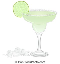 Margarita cocktail with a slice of lime isolated on white...