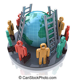 Colored 3d people around the planet earth and stairs in the...