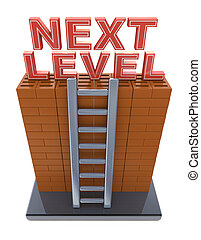 Next level. Progress concept in the design of information...