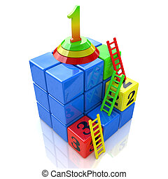 Conceptual victory. 3d stairs climbing to leader, promotion for career, business, success, achievement, winner, goal, step, rise or victory