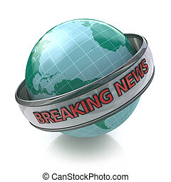 Breaking News Globe in 3D including clipping path in the...