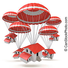 Falling houses. 3D Illustration of a cartoon small houses delivery by parachute air shipping