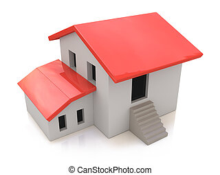 Real Estate Concept. 3d house on a white background