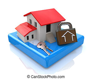 house and keys with lock